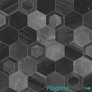 200dd1e39ba Black Hexagon Tile Design Non Slip Vinyl Flooring Kitchen Bathroom ...
