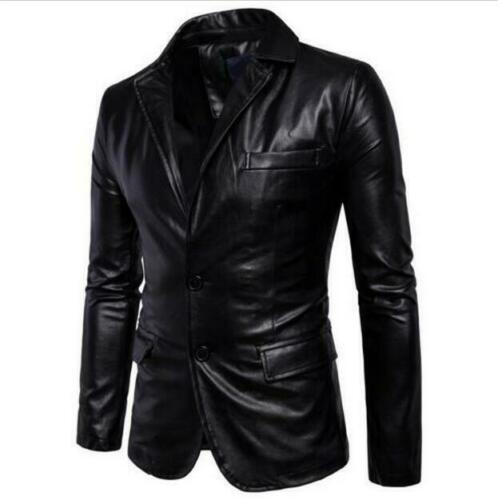 Herren Leder Revers Blazer Jacke Zwei Knopf Slim Fit Mantel Tops Schwarz coat