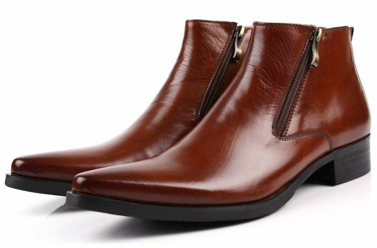 Mens Boots Dress Leather shoes Zipper pointy toe ankle short high Top low heel