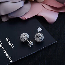 Luxury Full Simulated Diamond Pave Double Sided Eye Balls Silver Jacket Earrings
