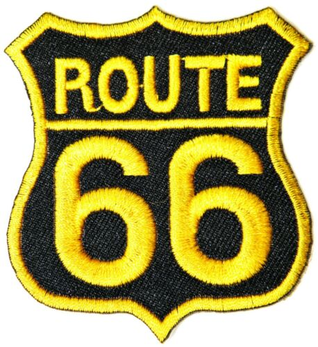 ROUTE 66 Biker Shield Decal Patch Iron on T shirt Jacket Cap Emblem Sign Badge
