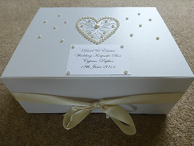Extra Large Ivory Wedding Keepsake Box Personalised Memory Box Pearl