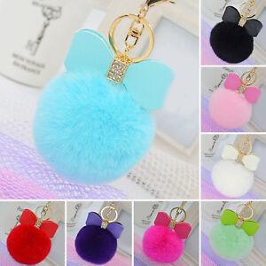 Rabbit-Fur-Pom-pom-Key-Chain-Bag-Charm-Fluffy-Puff-Ball-Bow-Key-Ring-Pendant