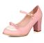 Women-Bowknot-Ankle-Strap-Heels-Retro-Mid-Chunky-Round-Toe-Mary-Jane-Shoe-Lolita thumbnail 8
