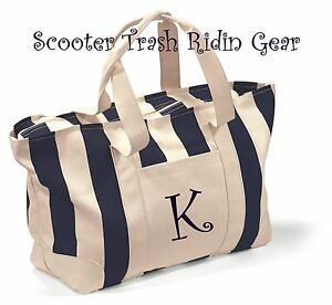 1c32736a7017 Details about Personalized Natural Canvas Navy Stripe LARGE Tote bag book  beach Nurse Anchor
