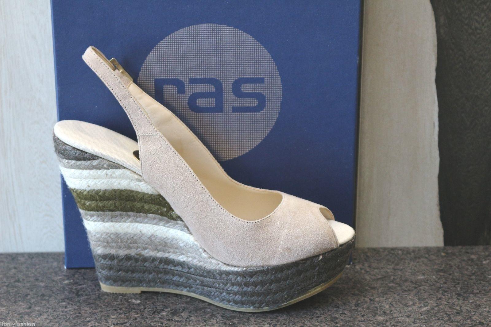 NIB RAS SPAIN BEIGE SUEDE Schuhes ESPADRILLES Wedge Platform Sandales Schuhes SUEDE 39 292e98