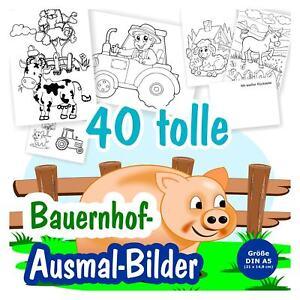 40 Witzige Malbilder Ausmalbilder Bauernhof Tiere Kinder Madchen Junge Schwein Ebay