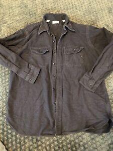 vtg-USA-made-LL-BEAN-camp-flannel-shirt-sz-18-LARGE-chamois-NAVY-CLOTH-SHIRT
