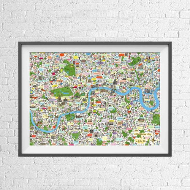 LONDON ENGLAND UK CITY CARTOON TOWN MAP POSTER PICTURE PRINT Sizes A5 to A0 *NEW