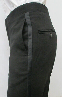 Black 100% Worsted Wool Flat Front Tuxedo Pants Wedding Prom Formal 27-35""