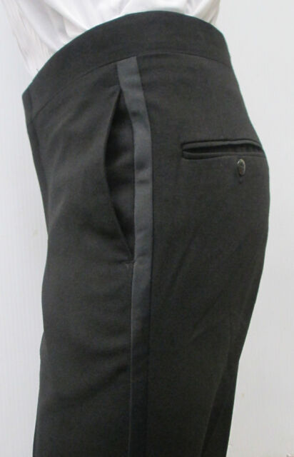 """Black 100% Worsted Wool Flat Front Tuxedo Pants Wedding Prom Formal 27-35"""""""