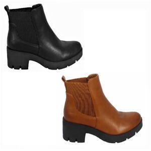Womens Block Heel Chelsea Ankle Boots Sz 3-8