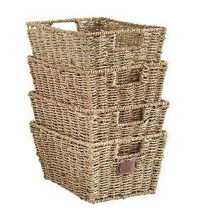 Image Is Loading VonHaus Set Of 4 Seagrass Storage Organizer Baskets