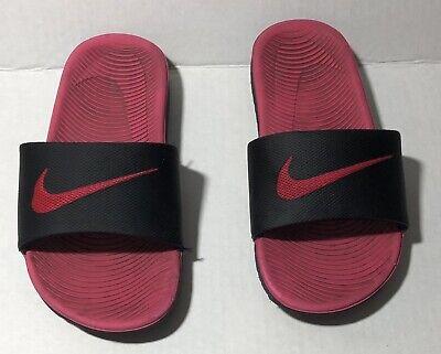 819353 001 Nike Kawa Slides Girls Size 12 Black Pink NEW