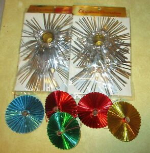 Vintage-Tinsel-Candle-Holders-amp-Pleated-Foil-Ornaments