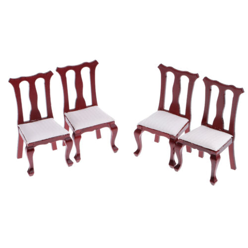 12th Dollhouse Miniature Dining Room Furniture Wooden Table with Chairs Set