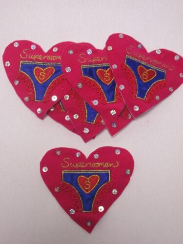 Pack of 10 Pink Felt Superwoman Love Heart Card Making Motif Badge #33B162