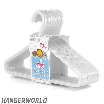 54 Quality Childrens White Plastic Hangers Clothes Coat Kids 30cm Hangerworld