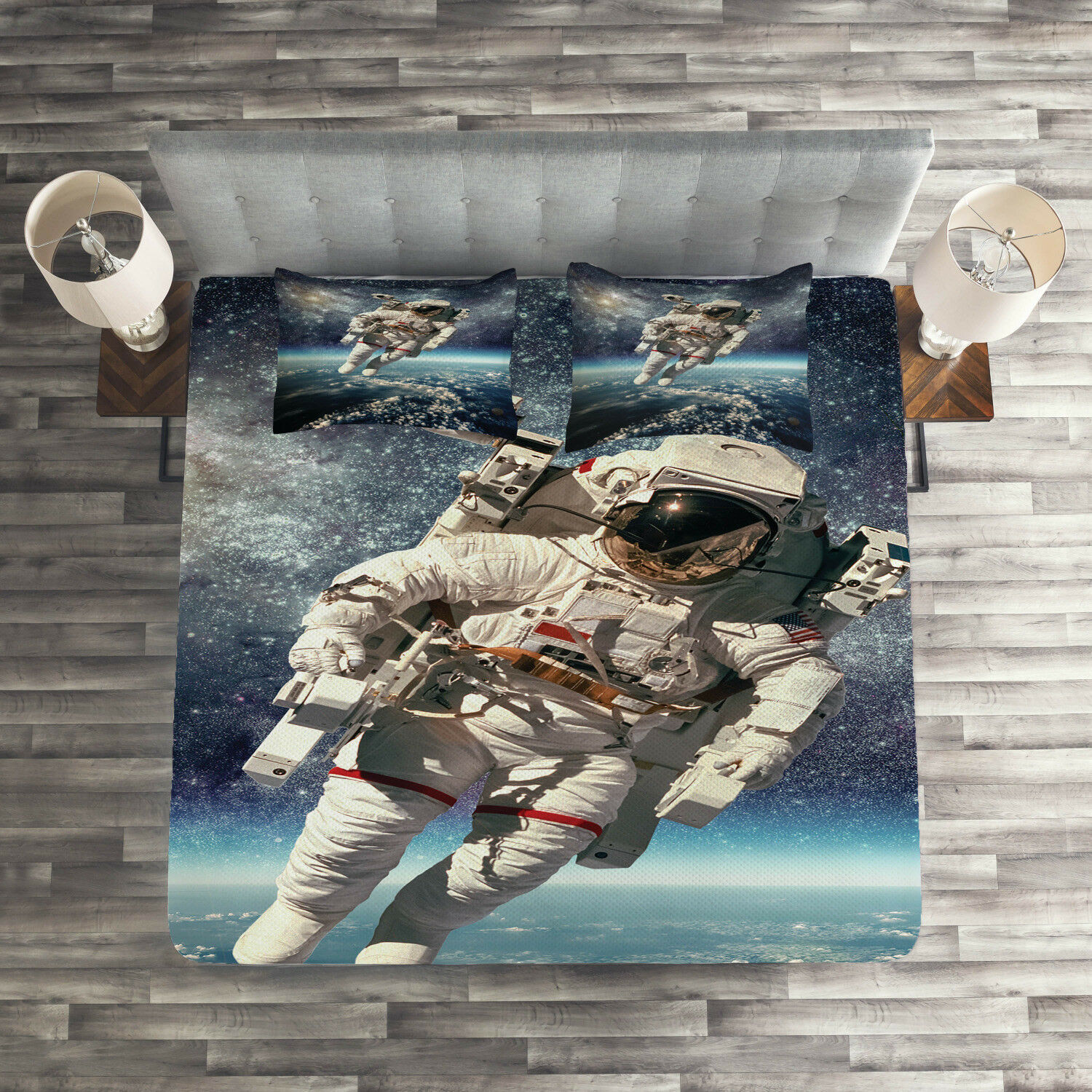 Galaxy Quilted Coverlet & Pillow Shams Set, Astronaut Floats Outer Space Print