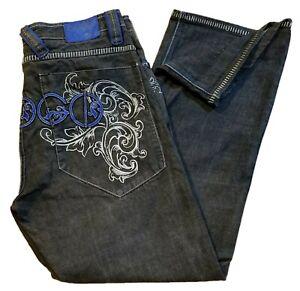 Coogi Para Hombre Bordado Denim Jeans Explicar Plata Azul Negro Talla 38 X 34 Ebay