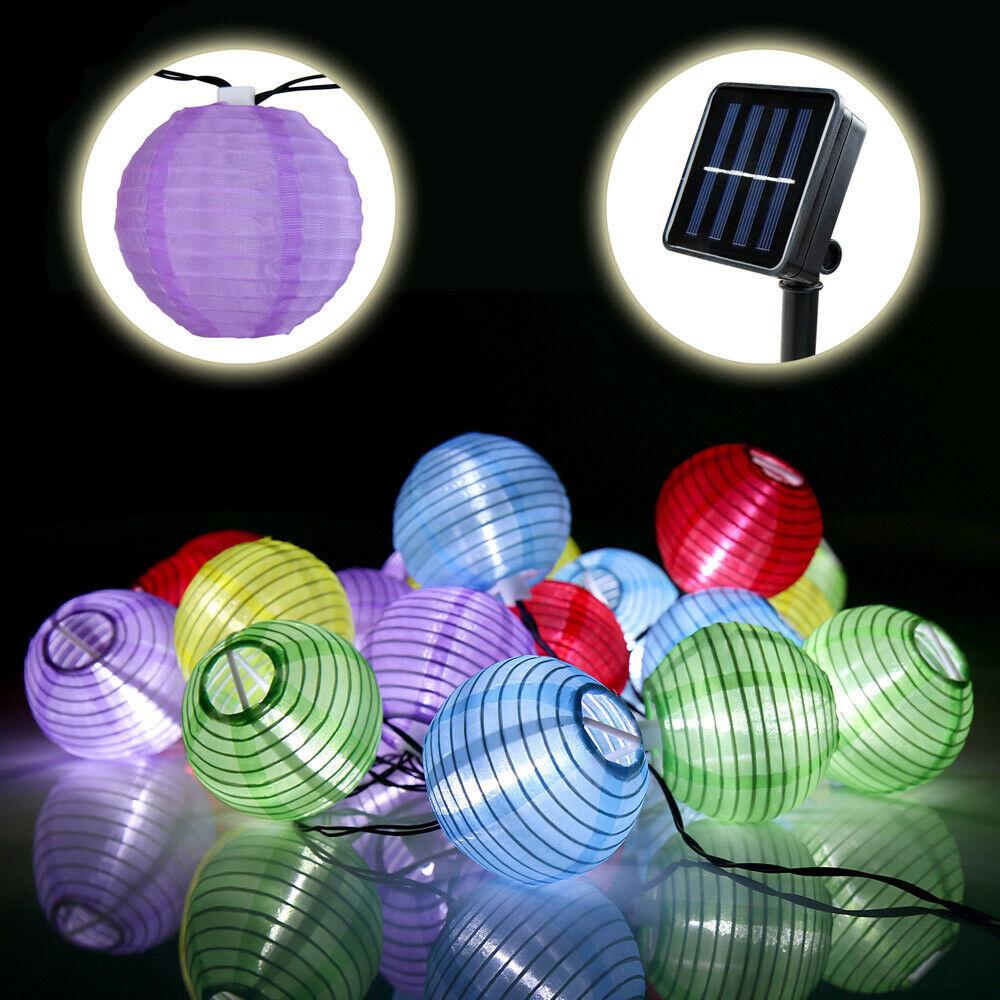 Lichtschläuche & -ketten 20 Led Solar Warmweiß Lampion Lantern Lichterkette Garten Party Außen DE385 Innenraum-Beleuchtung