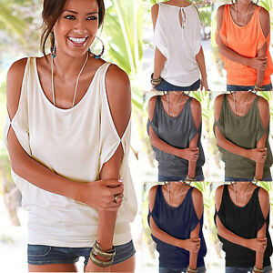 Women-Summer-Cold-Shoulder-Short-Sleeve-Blouse-Casual-Loose-Batwing-T-Shirt-Tops