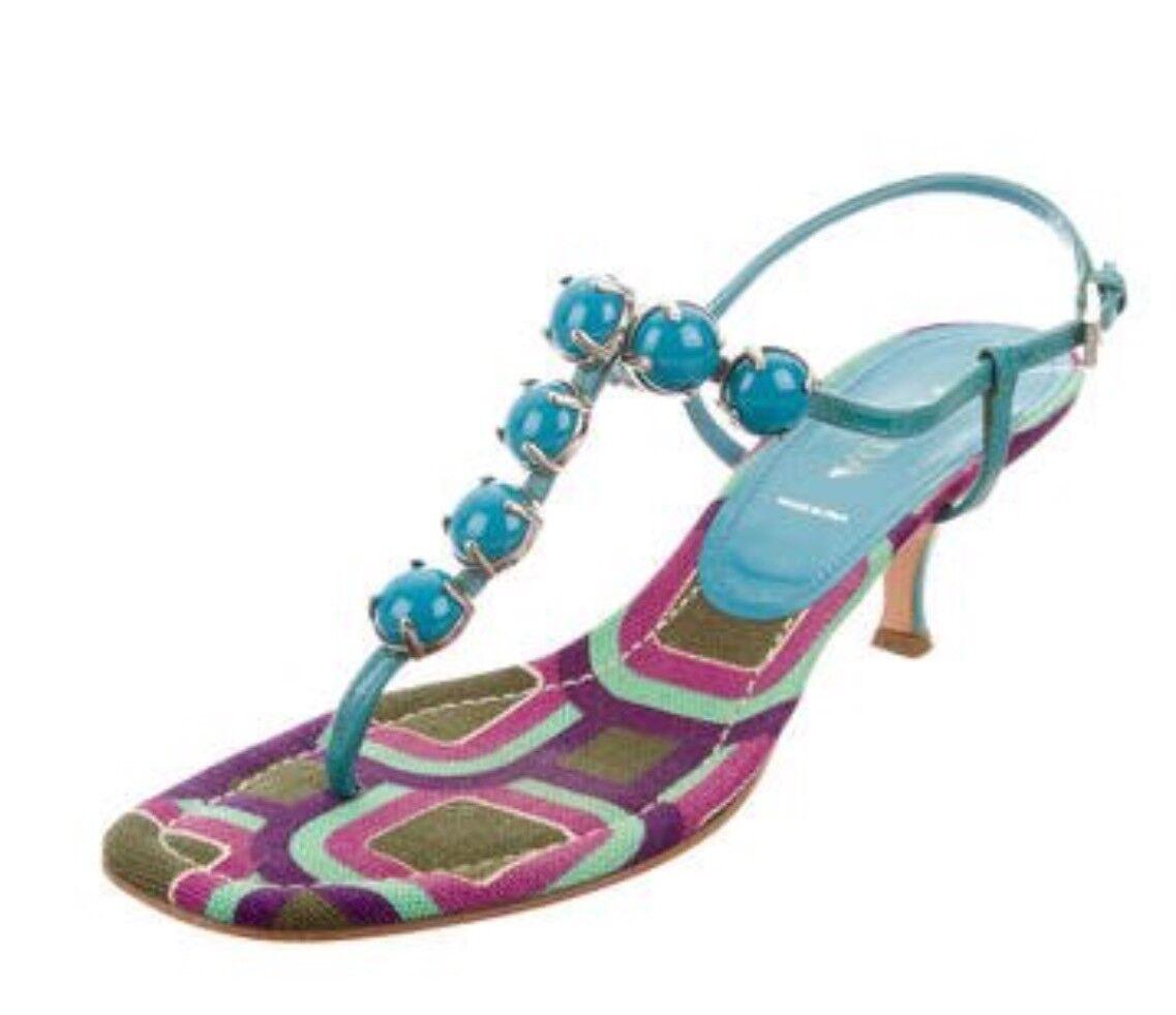 PRADA AUTH   499 donna Turquoise blu Leather Stone -embellited Thong Sandals 8.5  consegna gratuita e veloce disponibile