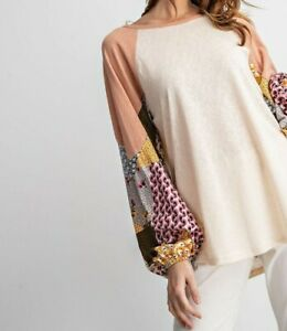 New-Easel-Top-L-Large-Blush-Pink-Patchwork-Paisley-Raglan-Bubble-Sleeve-Oversize