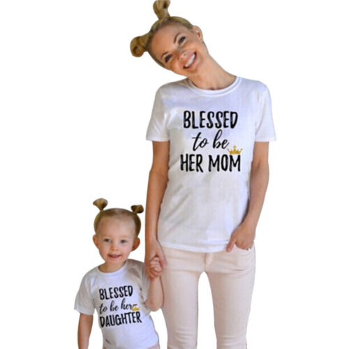 Mommy and Baby Girls Clothes Me Kids Short Sleeve Letter Print T shirt Outfits