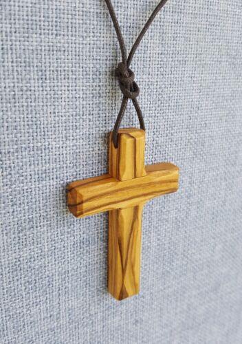 Halskette Holzkreuz Olivenholz mit Schnur Kreuz 6cm handgefertigt Bethlehem