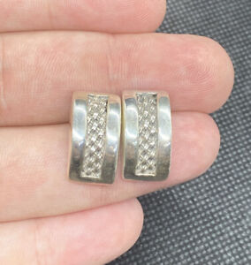 Vintage-Sterling-Silver-925-Solid-Ornate-Braided-Post-Pierced-Earrings
