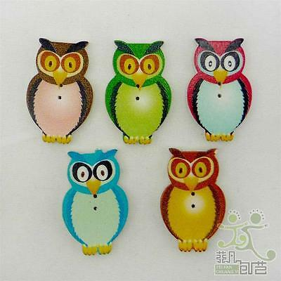 20 pcs cute mixed wood owl buttons 31x20mm craft/kids sewing emblishment