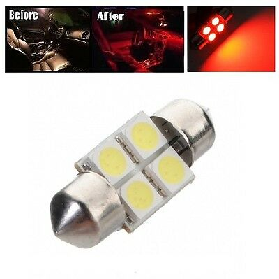 """2 x Hot Red 31mm LED 6428 3175 4-SMD 1.25/"""" Dome Map Festoon Interior Light Bulbs"""