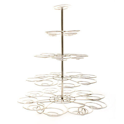 4 Tier Silver Cupcake Stand Cake Bakery Decorating Vintage Kitchen Wedding