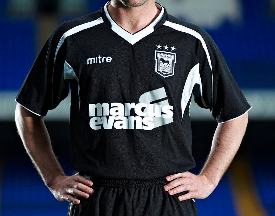 Ipswich Town 2010 11 lejos (XL, L) Negro S Slve  Mitre Fútbol Balonpié Camiseta Casaca  muchas sorpresas
