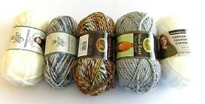 Craft-Lot-5-Skeins-of-Yarn-Mixed-Weights-amp-Yardage-Lion-Brand-Loops-amp-Threads