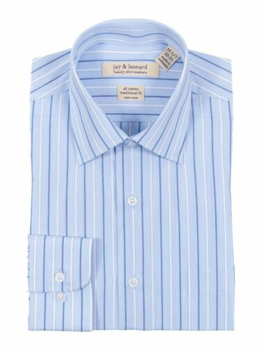 Classic Fit Light Blue Striped Easy Care Non Iron 100/% Cotton Dress Shirt
