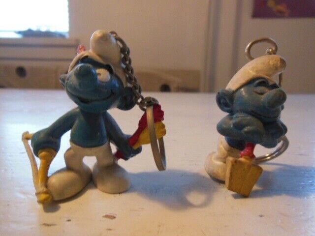 Smølfer, 2 vintage nøgleringe fra 1978, Peyo Bully germany