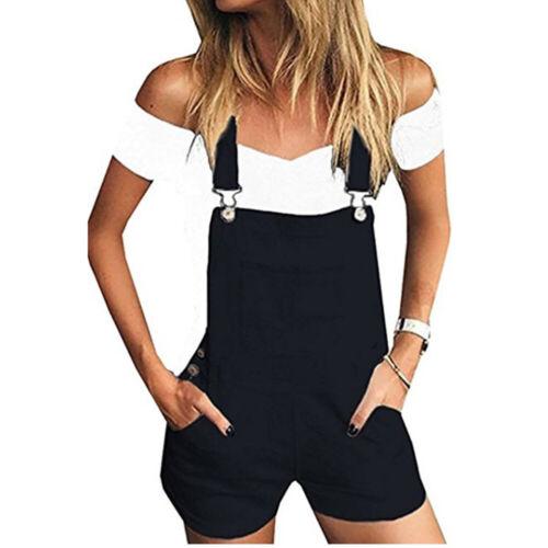 Women Overall Dungaree Denim Jeans Jumpsuit Playsuit Ladies Casual Shorts Romper
