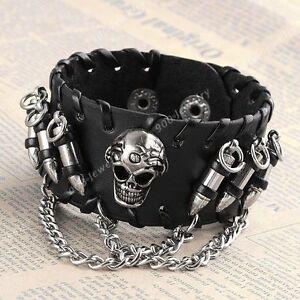 1x-Punk-Black-Skull-Teeth-Bullet-Chain-Bangle-Leather-Men-Bracelet-Cuff-Wrist