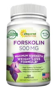 aSquared Nutrition Forskolin 500mg Max Strength - 120 Capsules - 100% Natural