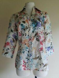 harve-benard-S-women-linen-cotton-colorful-shirt-blouse-3-4-sleeve-button-down