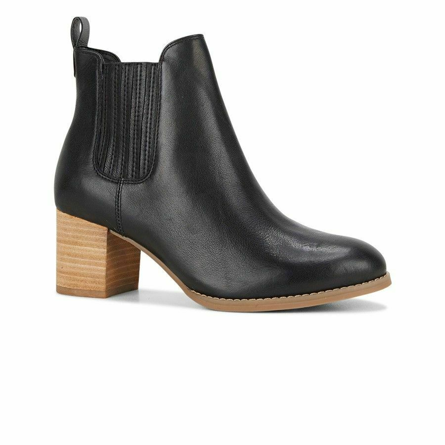 HUSH PUPPIES TILDA BOOTS Black Womens shoes Leather High Heel Thick Heels Ankle