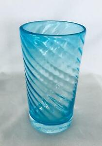 """Collectible 6 1/4"""" Turquoise Blue Hand Blown Swirled Art Glass Vase"""