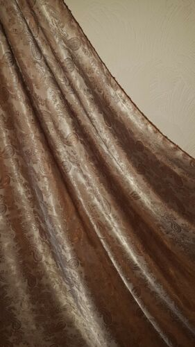 1M two tone brown //gold coloured paisley print dress//lining jacquard fabric58 /""