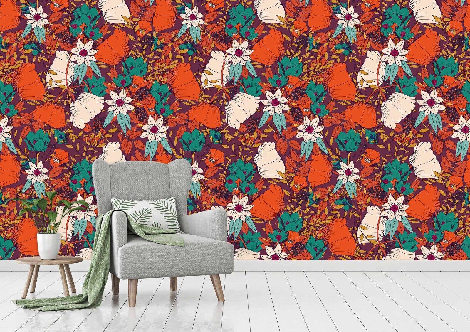 3D rot Flower Grün 734 Wallpaper Mural Paper Wall Print Indoor Murals CA Summer