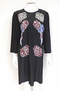 New-Stella-McCartney-Black-Silk-Floral-Embroidered-Dress-42-uk-10