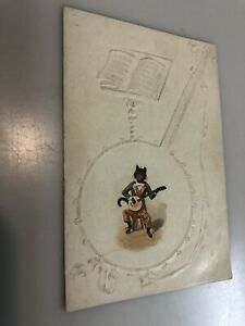 NEW ORLEANS COFFEE CO. ANTIQUE TRADE CARD, CAT PLAYING A BANJO, 1890S