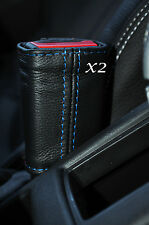 BLUE STITCH 2X FRONT SEAT BELT SKIN COVERS FITS VAUXHALL OPEL ADAM 2012-2015