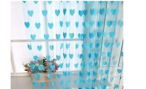 Homefab India Set of 2 Beautiful Blue Heart Door Curtains (HF323)